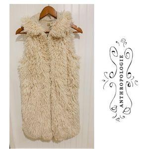Anthropologie Piko 1988 ivory fur hoodie Vest M